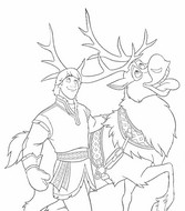 Coloring page Kristoff and Sven