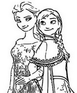 Coloring page Anna and Elsa