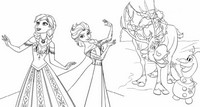 Coloring page Anna, Elsa, Olaf and Sven