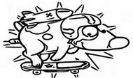 Coloring page Pat the dog on his skate