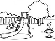 Coloring page Pat the dog makes of the slide