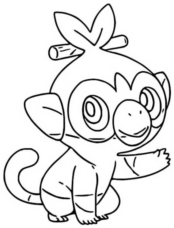 Coloring page Grookey - Pokémon Sword and Shield