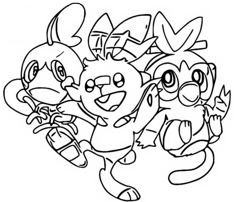 Coloring page Sobble, Scorbunny and Grookey - Pokémon Sword and Shield