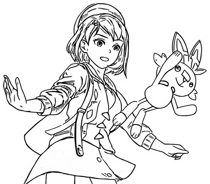 Coloring page Scorbunny and Trainer