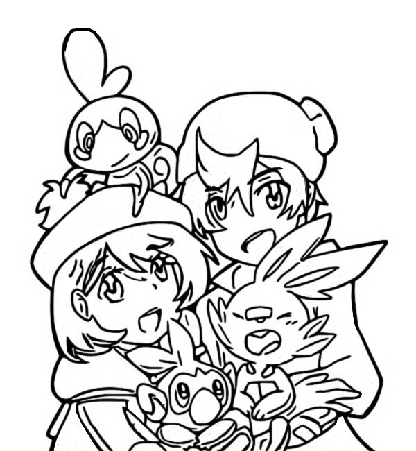 Coloring page Trainers and Scobble, Scorbunny and Grookey - Pokémon Sword and Shield