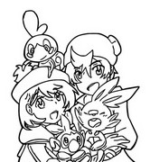 Coloring page Trainers and Scobble, Scorbunny and Grookey