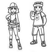 Desenho para colorir Treinadores Pokemon Ultra Sun e Ultra Moon