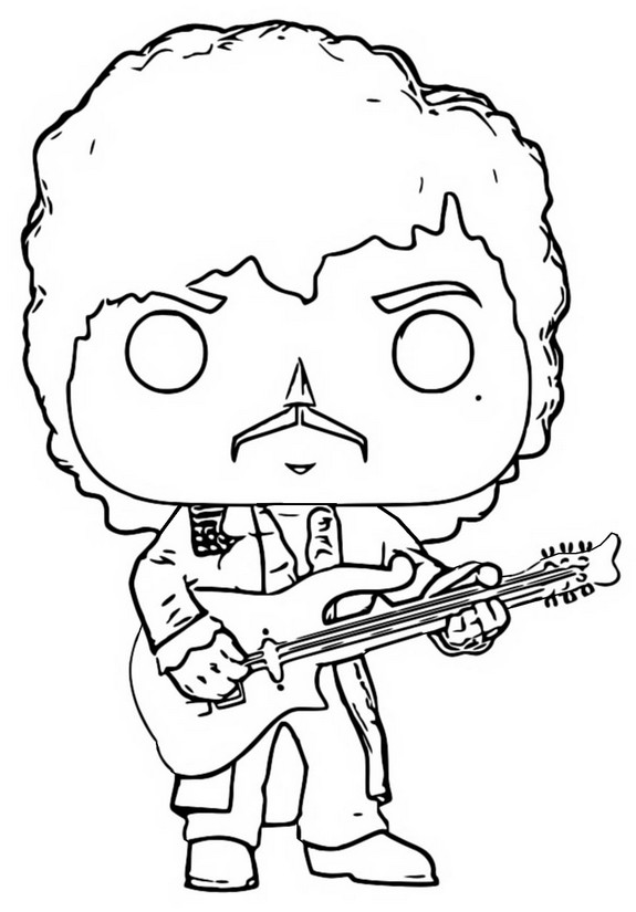 Dibujo para colorear Funko Pop Rocks : Prince - Purple Rain 1