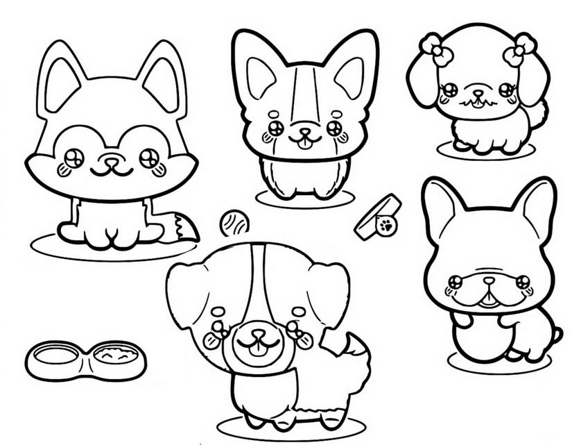 Dibujo Para Colorear Kawaii Perros 11