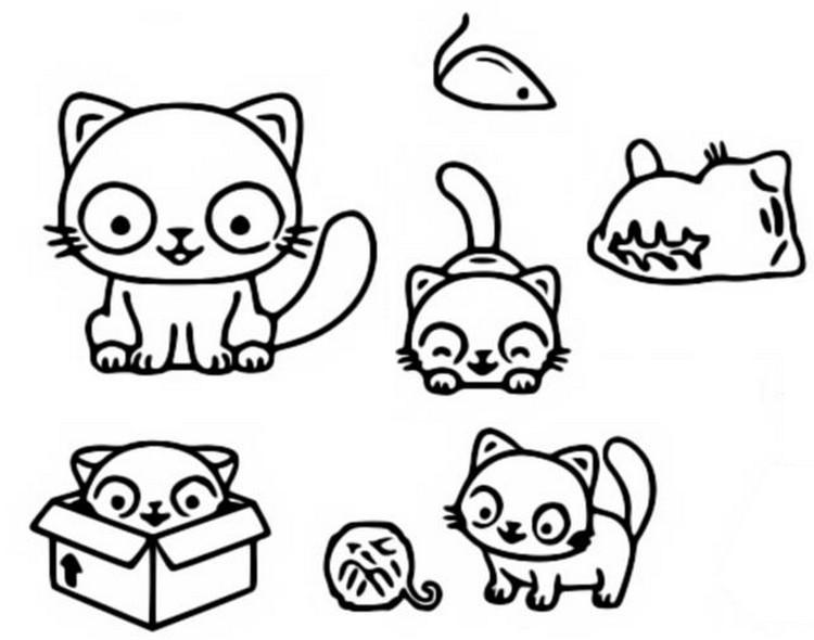 Dibujo Para Colorear Kawaii Gatos 14