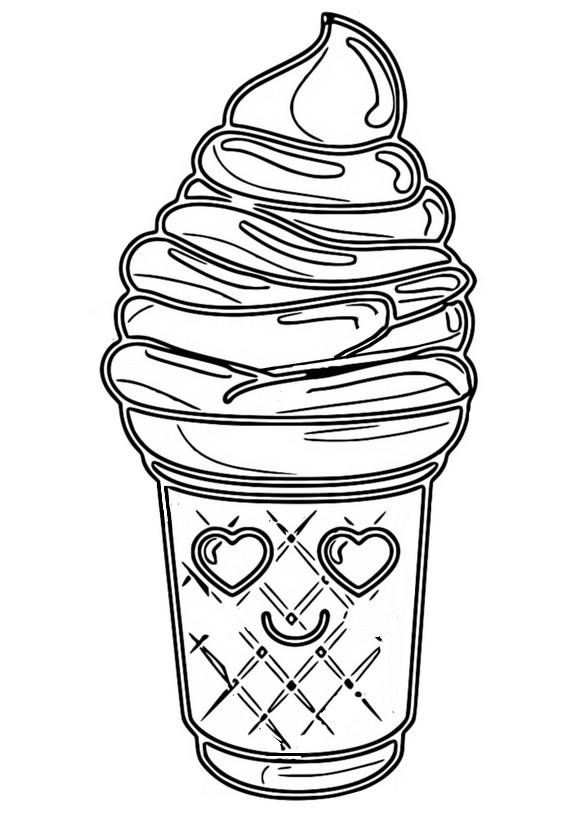 Desenho Para Colorir Kawaii Sorvete 8
