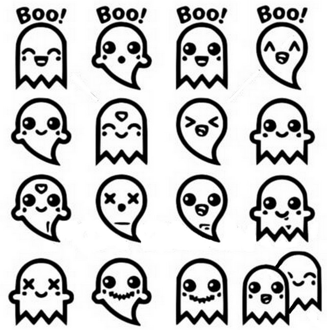 Dibujo Para Colorear Kawaii Fantasmas 9