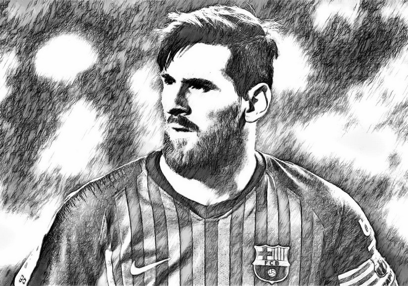 Coloring Page Uefa Champions League 2019 Lionel Messi 2019 1