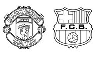 Coloring page Quarter-finals : Manchester United - Barcelona