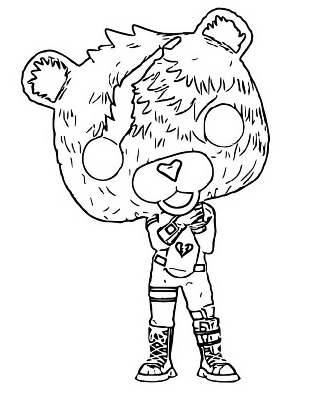 Coloring Page Funko Pop Fortnite Cuddle Team Leader 7