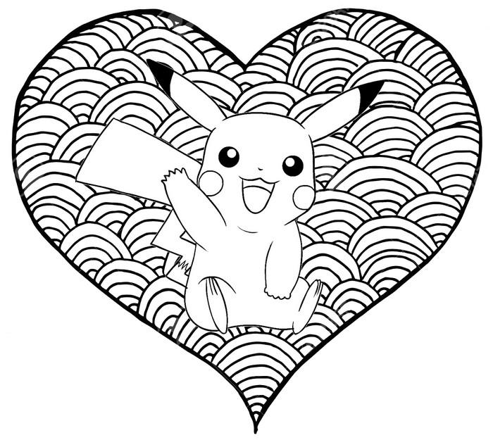 Dibujo Para Colorear Pikachu Corazon Pikachu 12