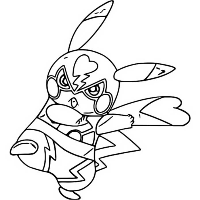Coloring page Pikachu : Pikachu Libre 2