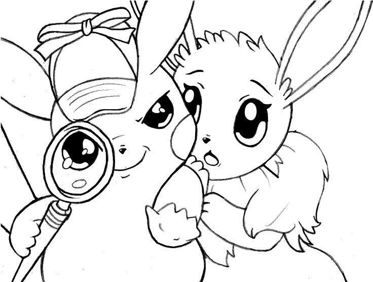 Coloring Page Pikachu Detective Pikachu And Eevee 6