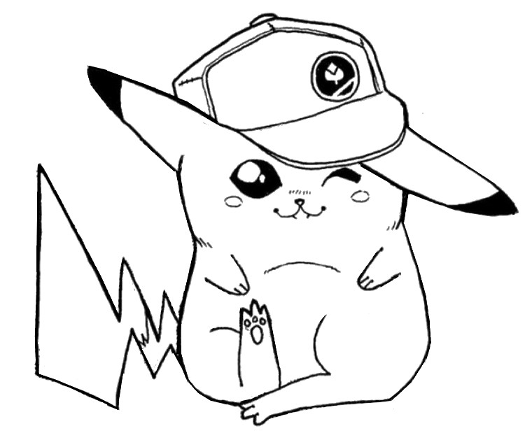 Coloring Page Pikachu Pikachu With The Cap Of Sacha 8