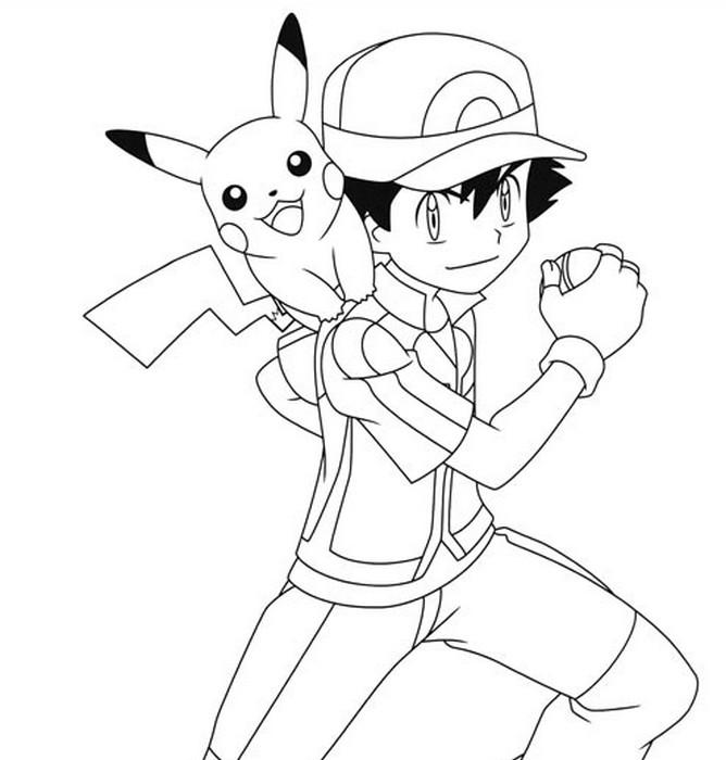 Dibujo para colorear Pikachu : Pikachu y Sacha 9