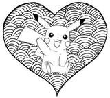 Tulostakaa värityskuvia Sydän Pikachu