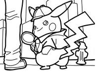 Coloring page Detective Pikachu