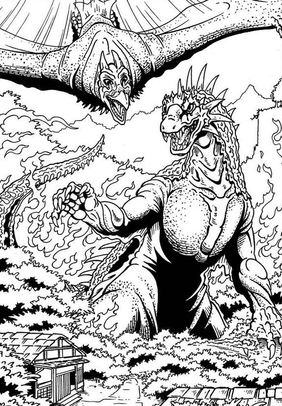 Dibujo Para Colorear Godzilla Rodan Y Varan 3