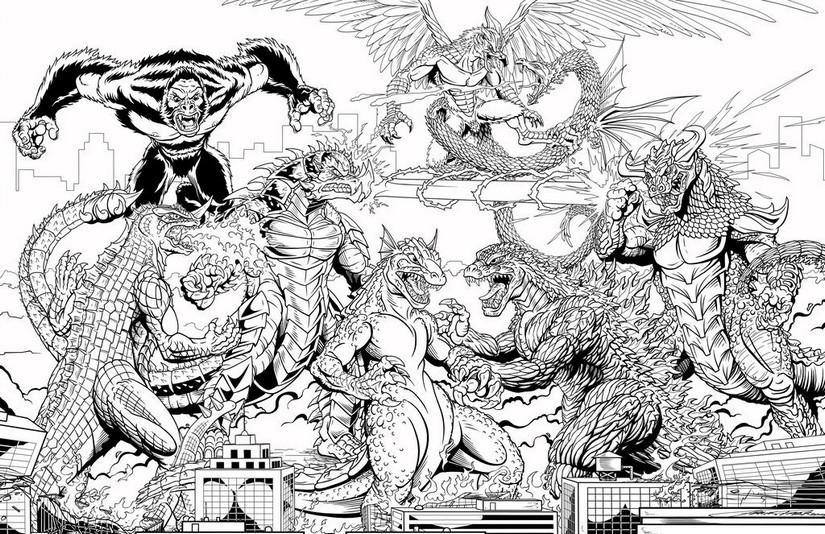 Dibujo Para Colorear Godzilla Batalla De Kaiju 4