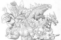 Coloring page Godzilla team