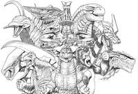 Dibujo para colorear Godzilla, King Kong y Gamera