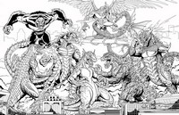 Coloring page Battle of Kaiju
