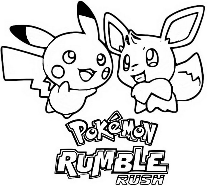 coloring page pok 233 mon on mobile pikachu and eevee