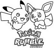Kleurplaat Pikachu en Eevee Pokémon Rumble Rush
