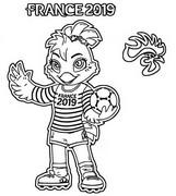 Målarbok Mascot Frankrike 2019