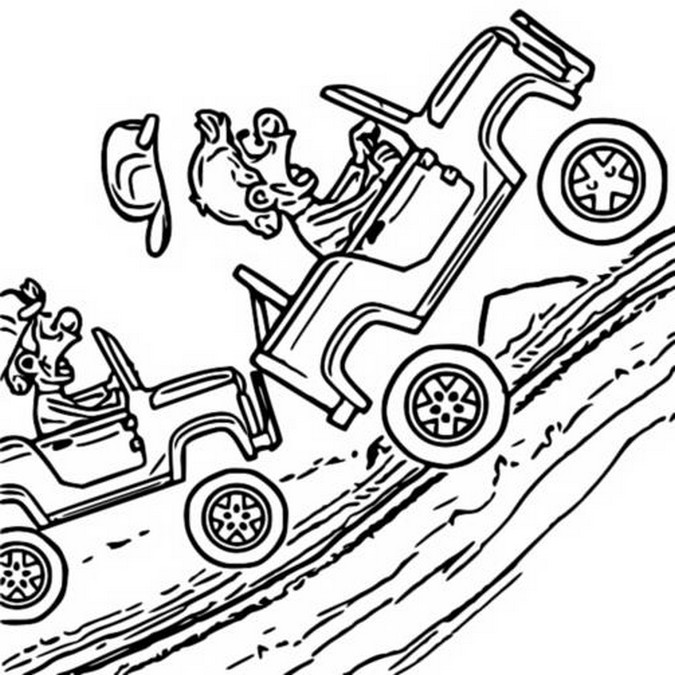 Coloring Page Hill Climb Racing : Accident 4