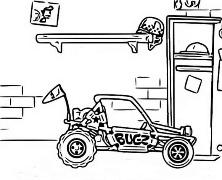 Coloring Page Hill Climb Racing : Dune Buggy 8