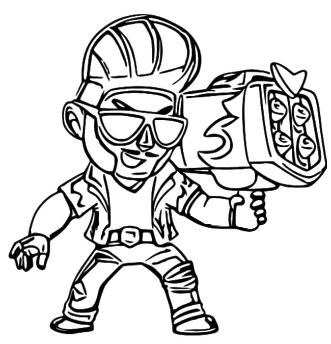 Disegno Da Colorare Brawl Stars Skins Hot Rod Brock 4