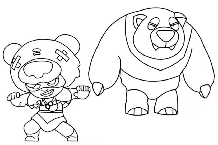 Dibujo Para Colorear Brawl Stars Skins Nita Panda 8