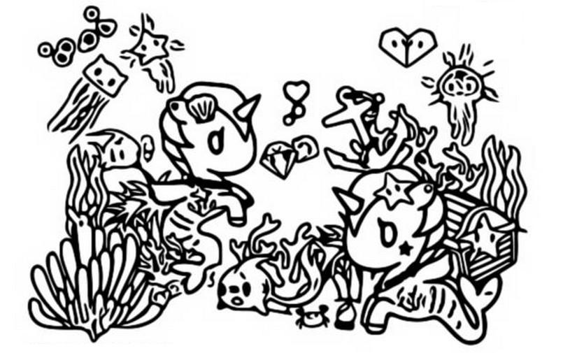 Coloring Page Tokidoki : Mermicorno 1