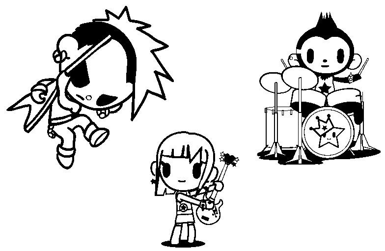 Coloring page Tokidoki : Punkstar Rocco & Charley 11