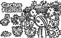 Desenho para colorir Cactus Friends
