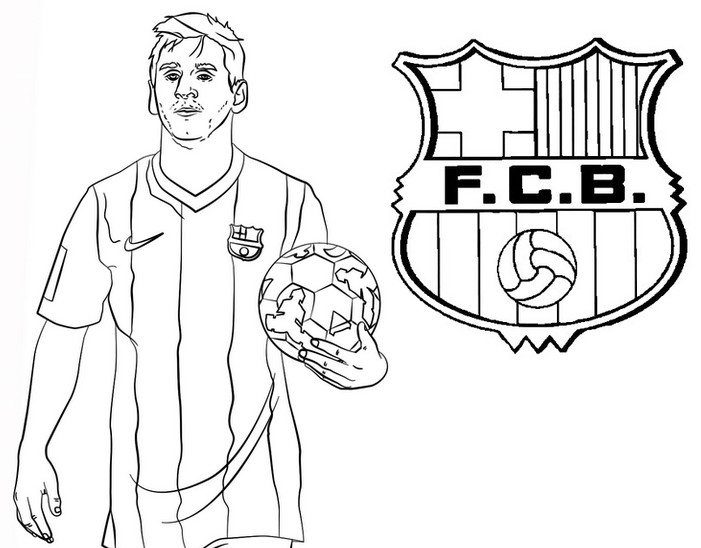 Disegno da colorare Lionel Messi - FC Barcelona - UEFA Champions League 2020