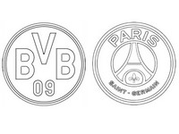 Coloring page Round of 16 : BV Borussia Dortmund - PSG Paris Saint-Germain