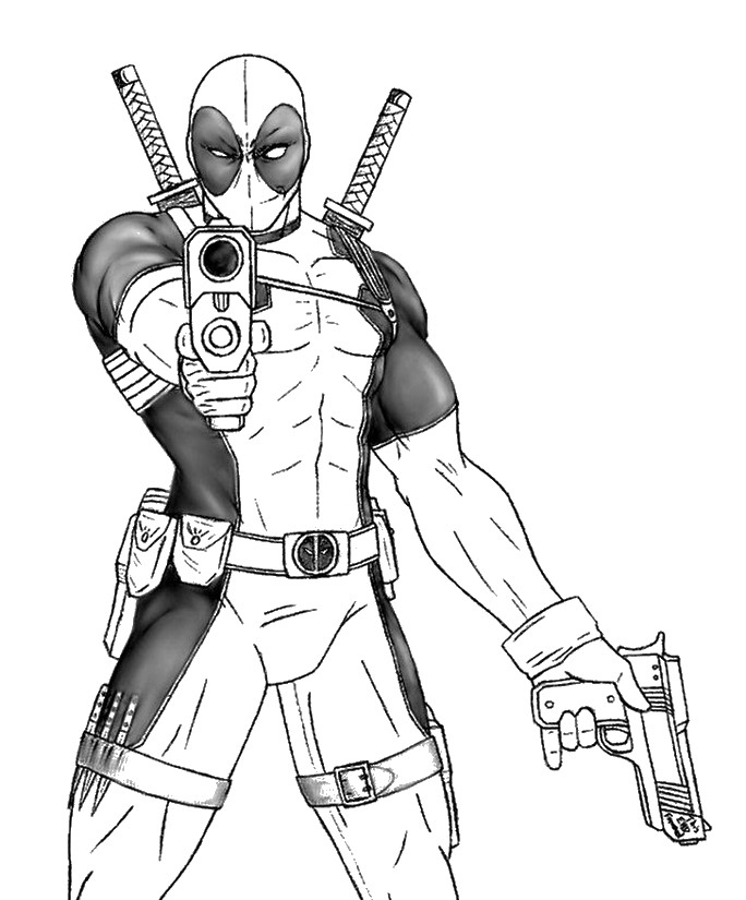 Dibujo para colorear Deadpool Marvel - Fortnite Capítulo 2 Temporada 2