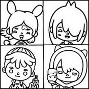 Coloring page Leon, Rita, Nari and Zeke