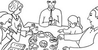 Coloring page Seder meal