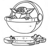 Kleurplaat Baby Yoda