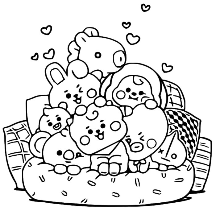 Coloring page BT21 : On the couch 7