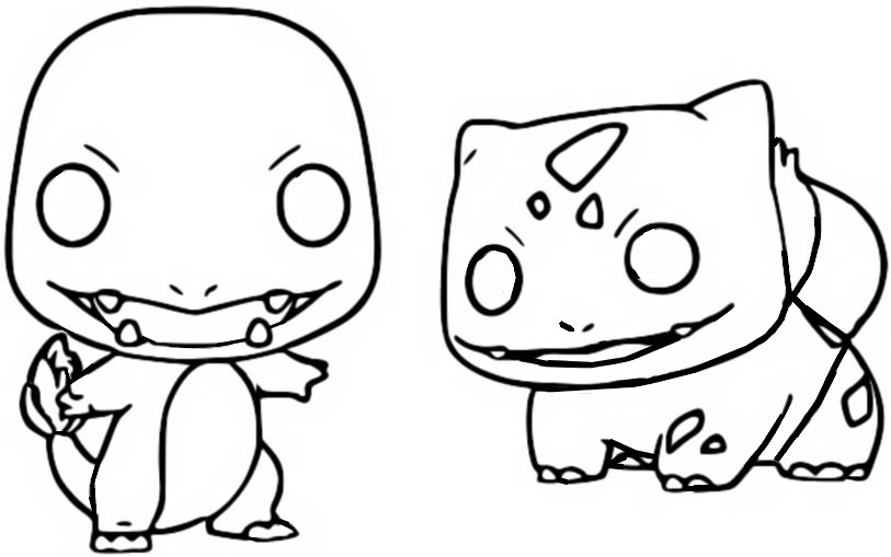 Coloring Page Funko Pop Pokemon Charmander Bulbasaur 6