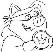 Disegno da colorare Il maiale con una moneta d'oro